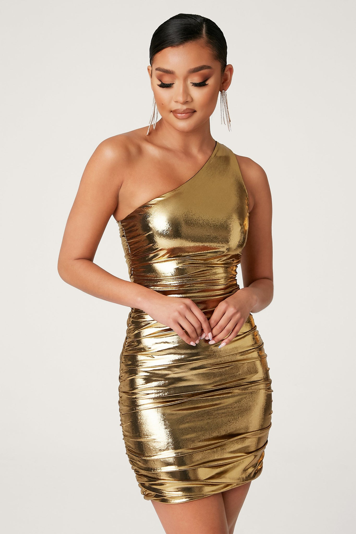 Kaelin One Shoulder Ruched Mini Dress - Gold - MESHKI