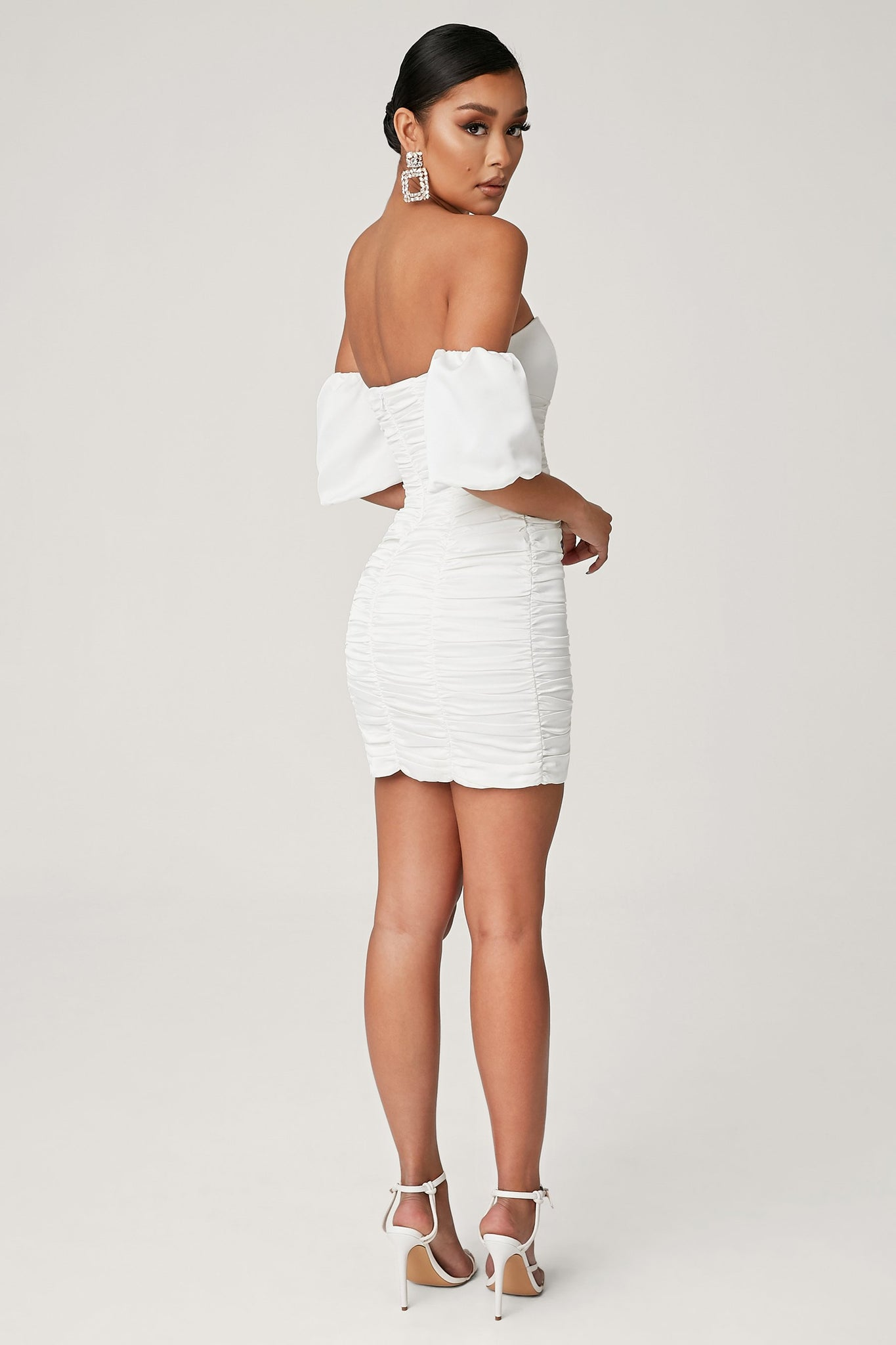 Jaqueline Puffed Sleeves Ruched Mini Dress - White - MESHKI