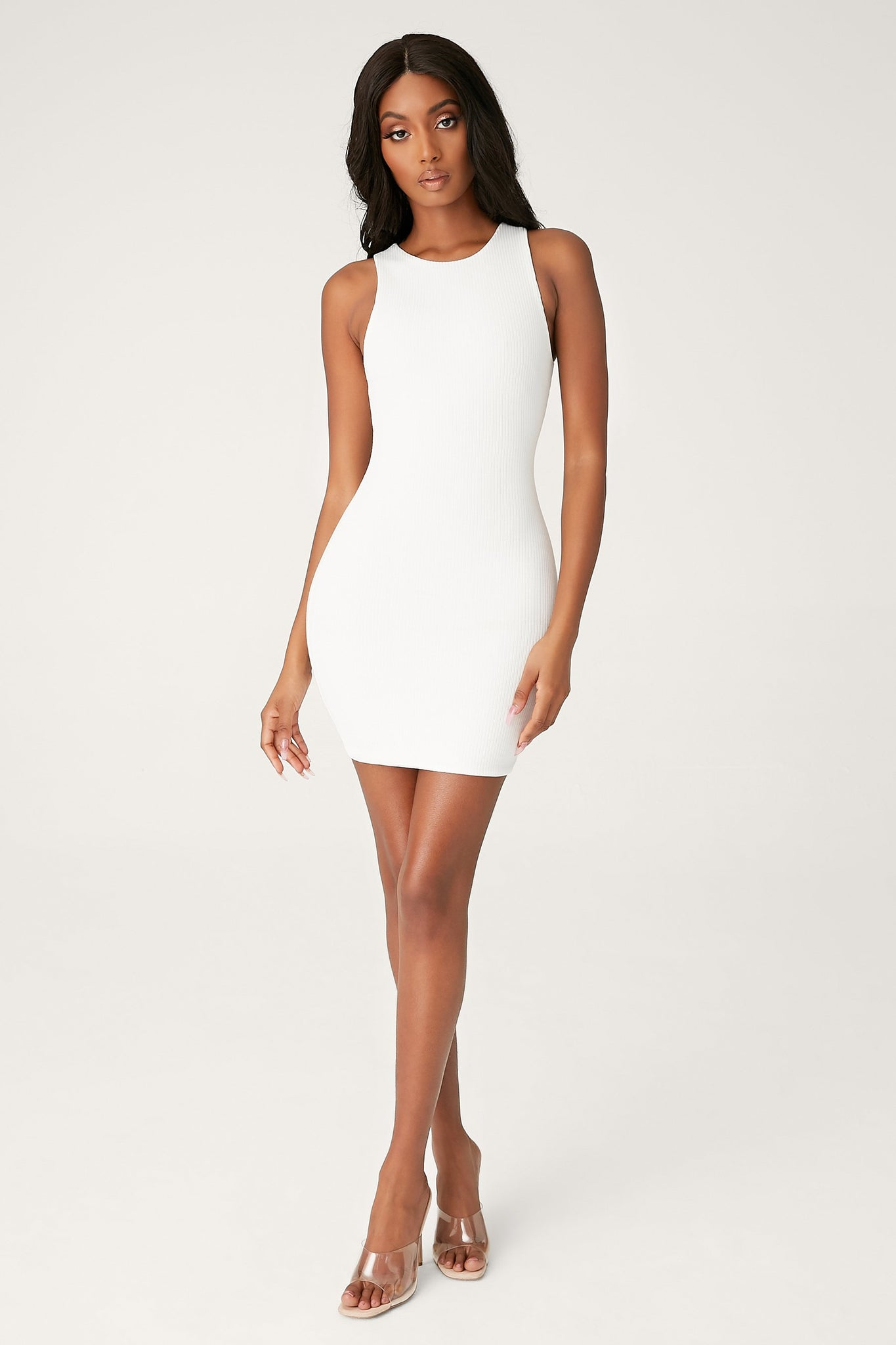 Pania Ribbed Sleeveless Mini Dress - White - MESHKI