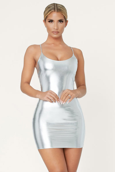 Zumi Metallic Bodycon Mini Dress - Silver