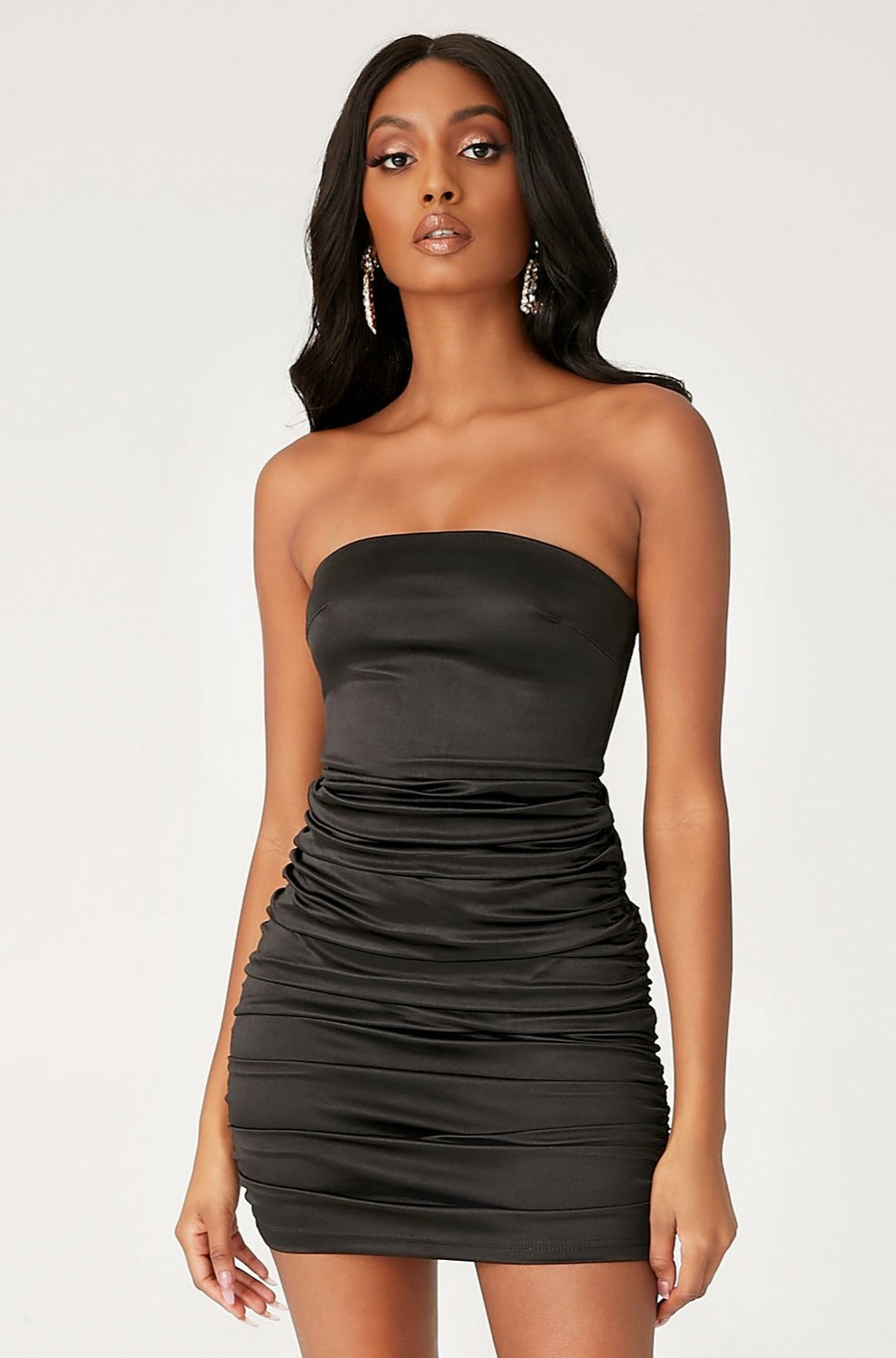 Bernadette Strapless Ruched Side Dress - Black - MESHKI