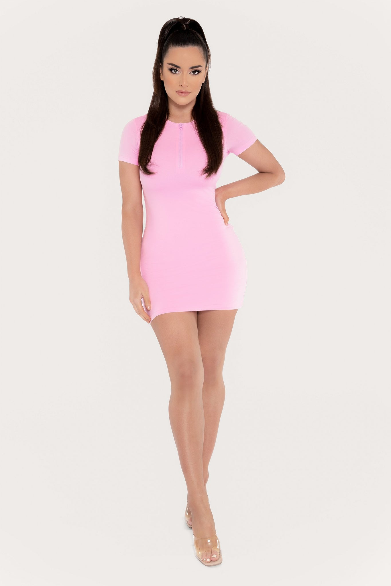 Delilah Zip Front Short Sleeve Mini Dress - Baby Pink - MESHKI