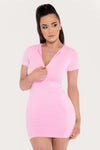 Delilah Zip Front Short Sleeve Mini Dress - Baby Pink