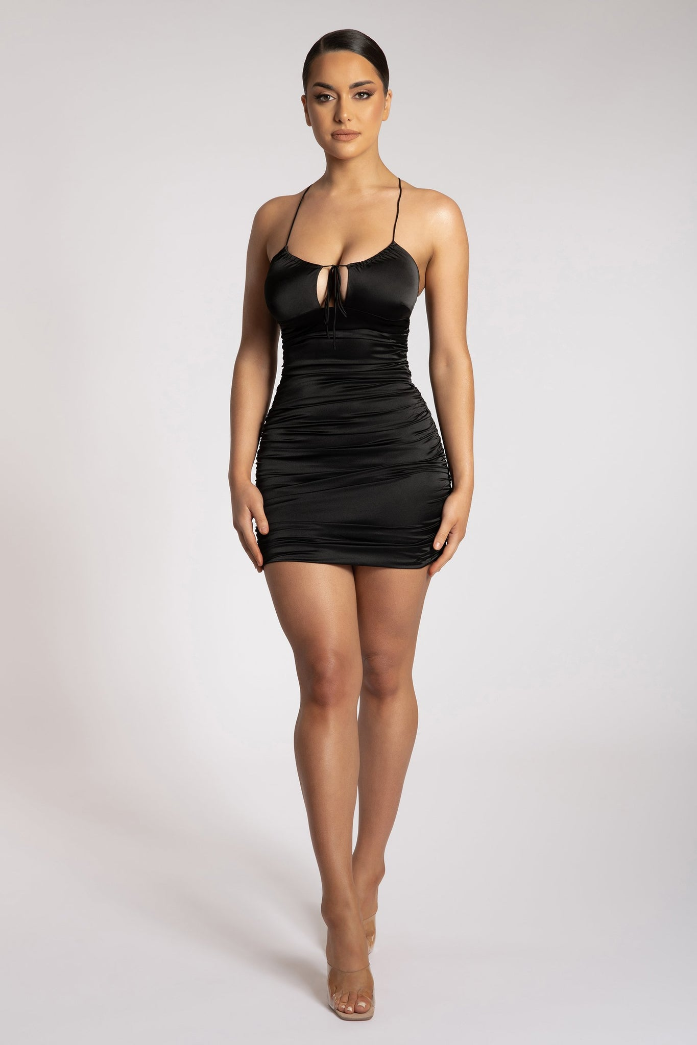 Kaela Ruched Front Tie Up Mini Dress - Black - MESHKI