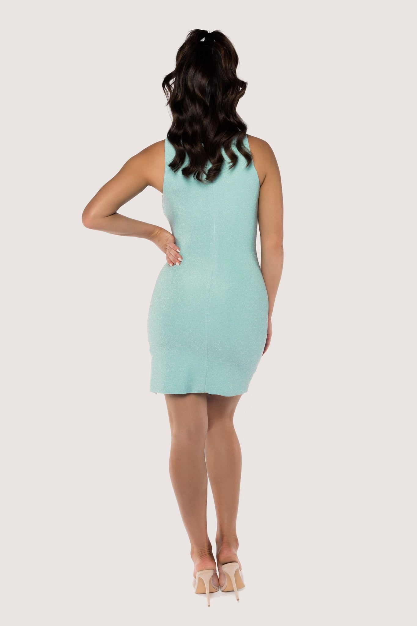 Amy Sleeveless Split Mini Dress - Turquoise - MESHKI