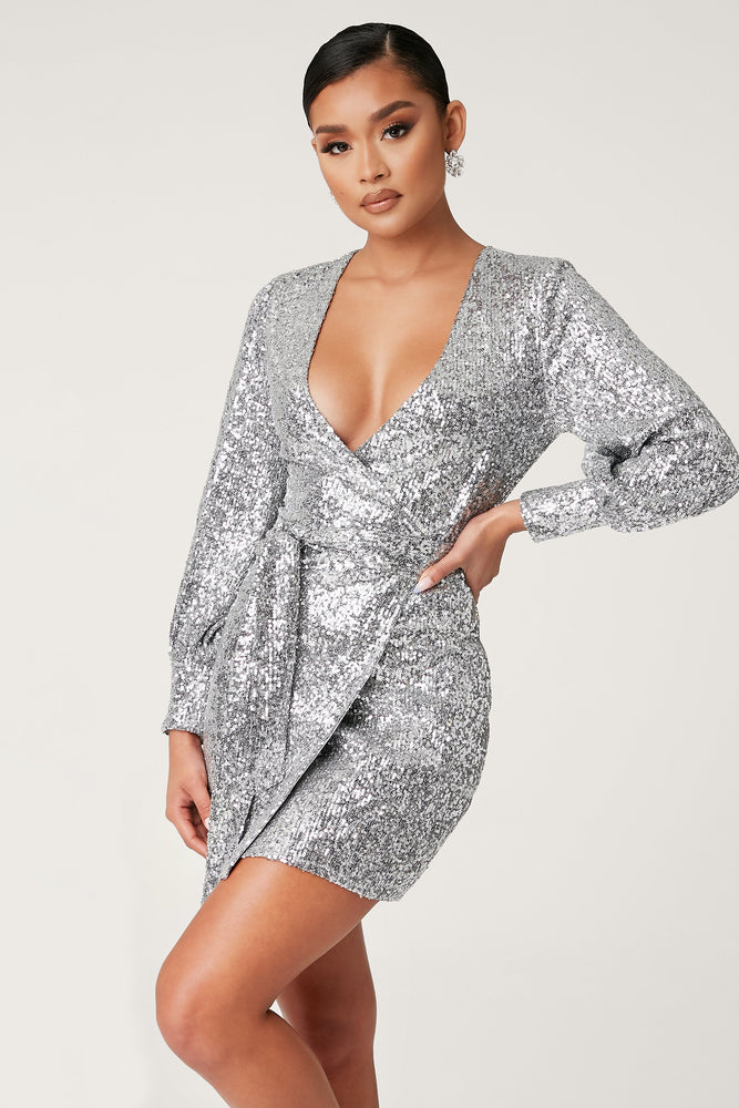 Chrissa Sequin Long Sleeve Wrap Mini Dress - Silver - MESHKI