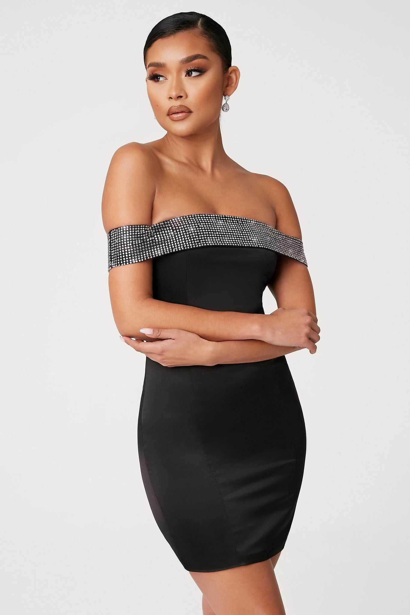 Justina Off The Shoulder Diamante Mini Dress - Black - MESHKI