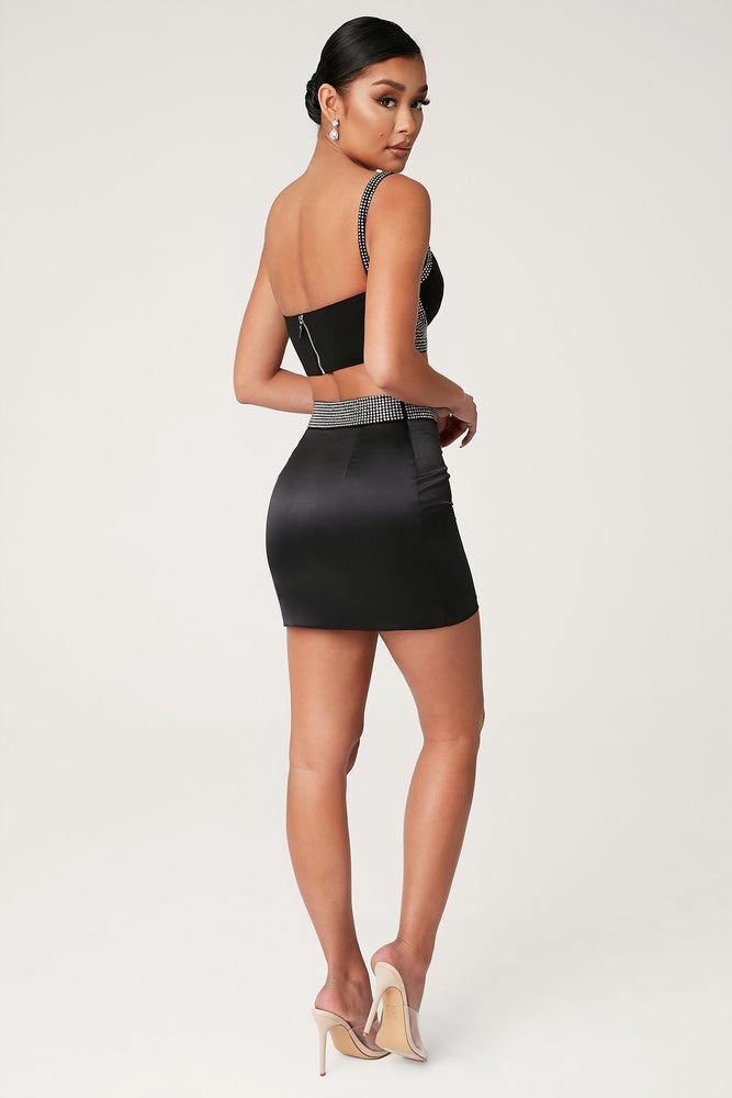 Calida Diamante Waistband Mini Skirt - Black - MESHKI