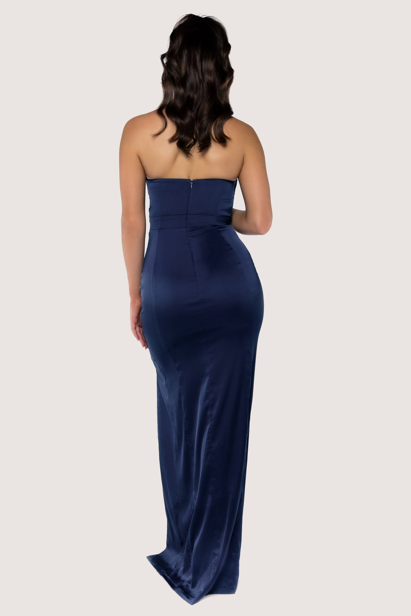 Jeannie Strapless Wrap Maxi Dress - Navy - MESHKI