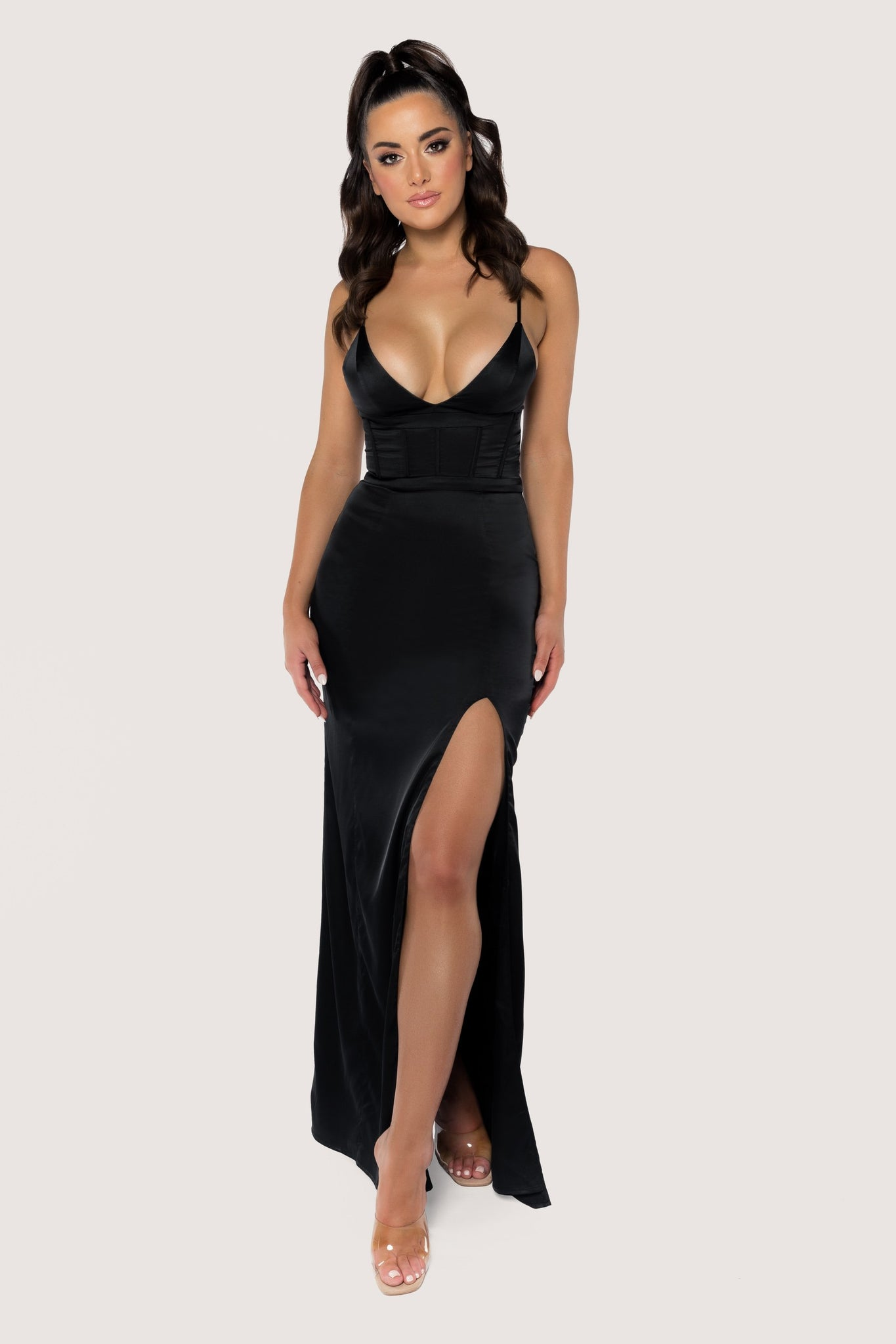 Dania Thin Strap Plunge Maxi Dress - Black - MESHKI