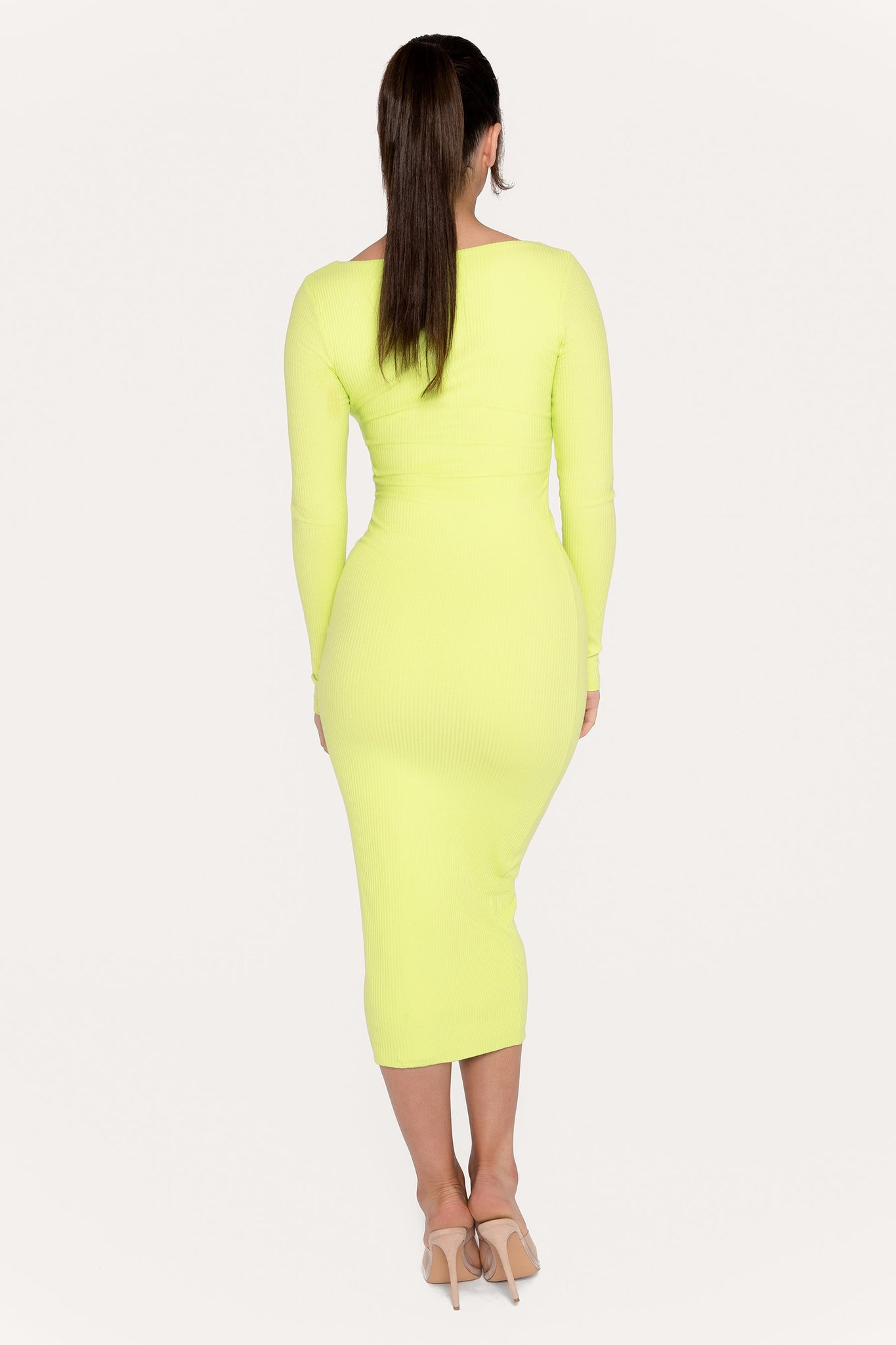 Desirae Long Sleeve Scoop Neck Midi Dress - Lime Green - MESHKI