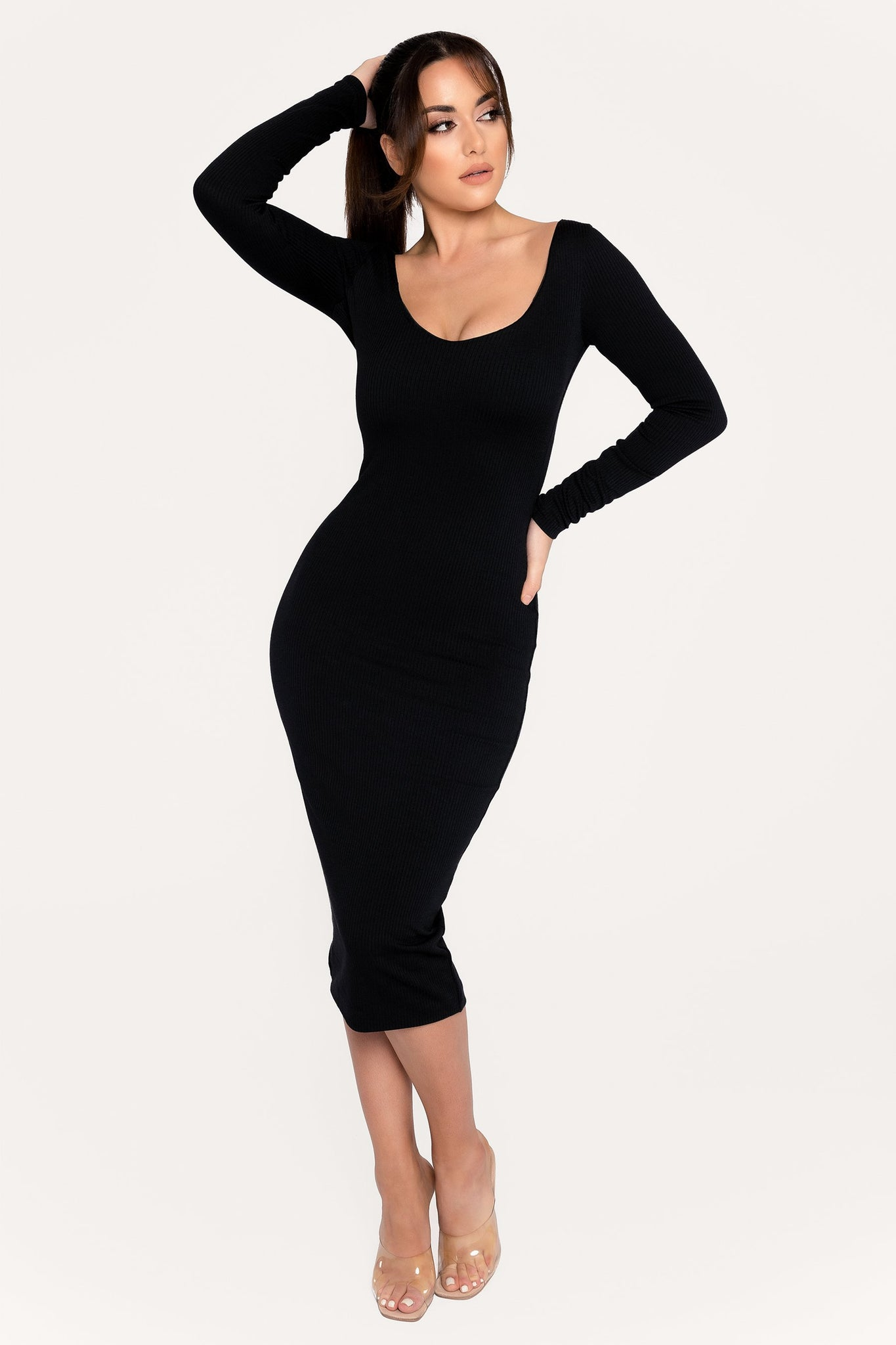 Desirae Long Sleeve Scoop Neck Midi Dress - Black - MESHKI