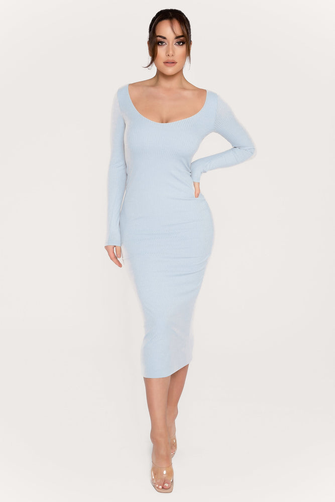 Desirae Long Sleeve Scoop Neck Midi Dress - Baby Blue - MESHKI