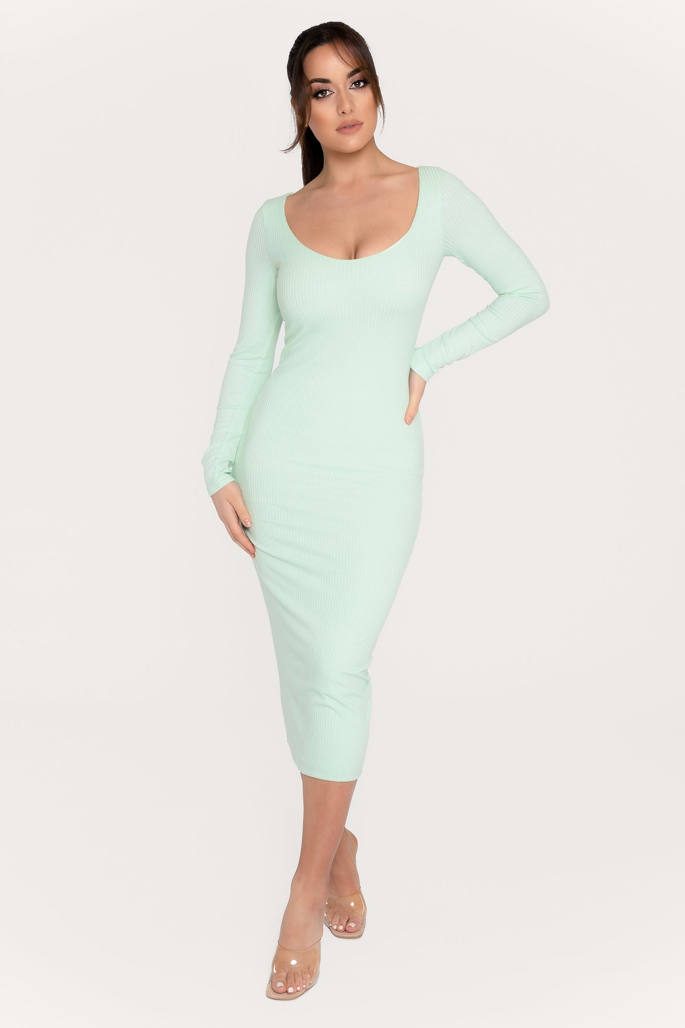 Desirae Long Sleeve Scoop Neck Midi Dress - Mint - MESHKI