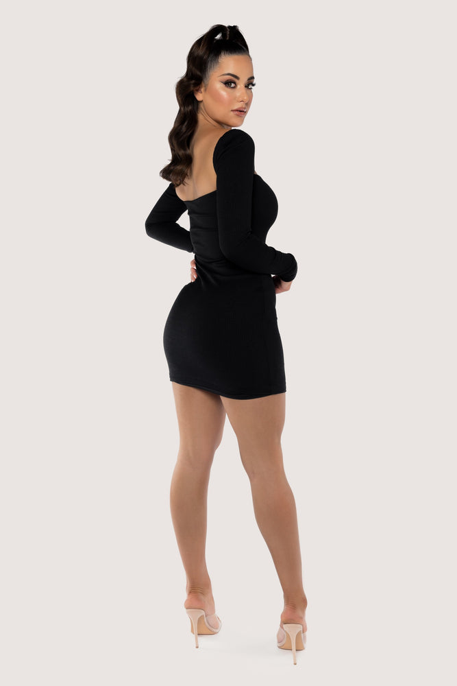 Adrina Ribbed Off The Shoulder Mini Dress - Black - MESHKI