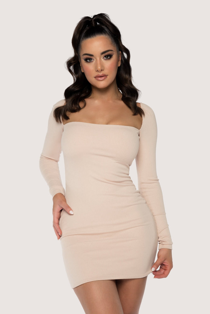Adrina Ribbed Off The Shoulder Mini Dress - Nude - MESHKI