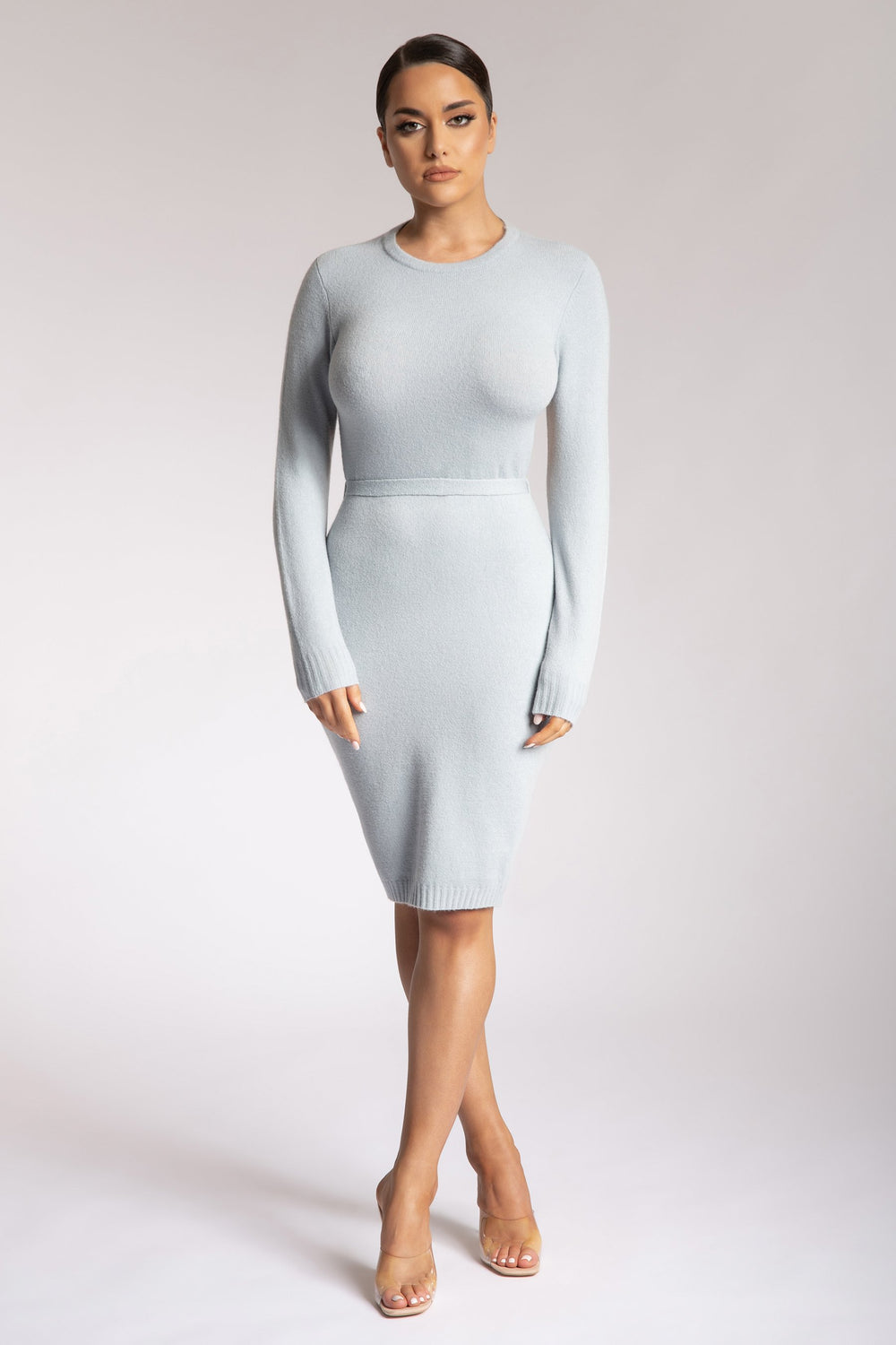 Loretta Long Sleeve Backless Knitted Midi Dress - Baby Blue - MESHKI