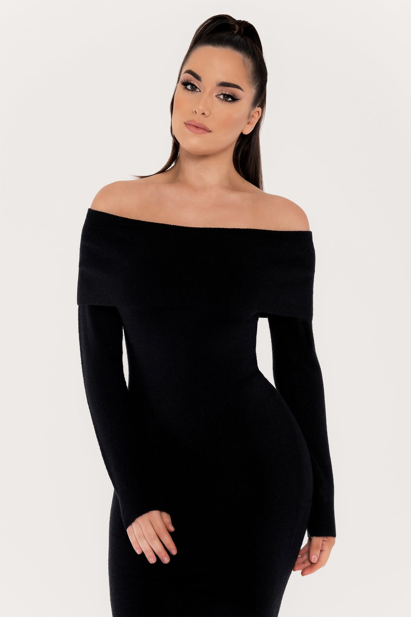 Corinna Off The Shoulder Knit Mini Dress - Black - MESHKI