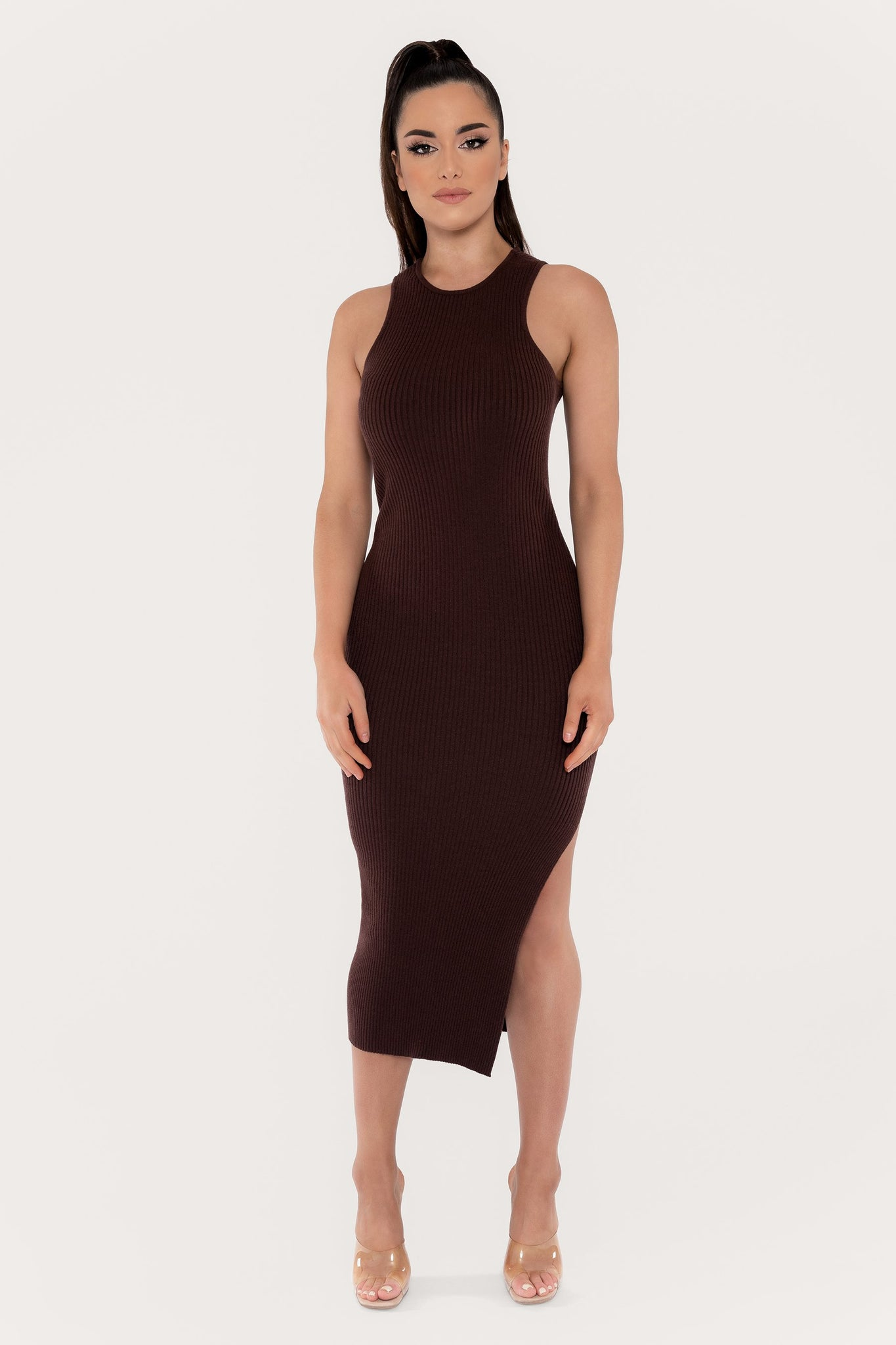 Sienna Sleeveless Ribbed Midi Dress - Chocolate - MESHKI
