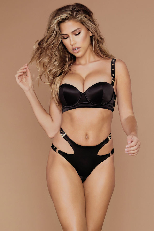 Alison Satin Buckle Push Up Bra - Black - MESHKI
