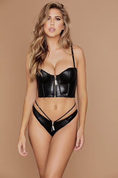 Ursula Leather Brazilian Briefs - Black