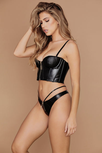 Ursula Leather Bustier - Black - MESHKI