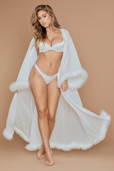 Clara Long Feather Trim Robe - Ivory
