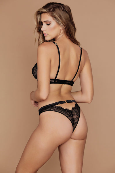 Stevie Lace High Waist Brazilian Briefs - Black