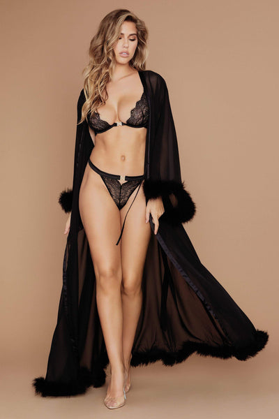 Clara Long Feather Trim Robe - Black