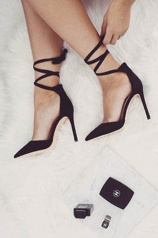 Freya Wrap Pointed Heel - Black Suede