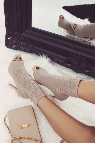 Fame Knitted Open Toe Ankle Boot - Beige Knit - MESHKI