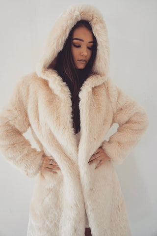 Tamara Faux Fur Coat with Hoodie - Nude - MESHKI