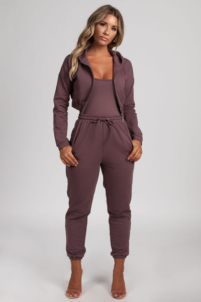 Johanna Zip Through Cropped Loopback Hoodie - Mauve - MESHKI