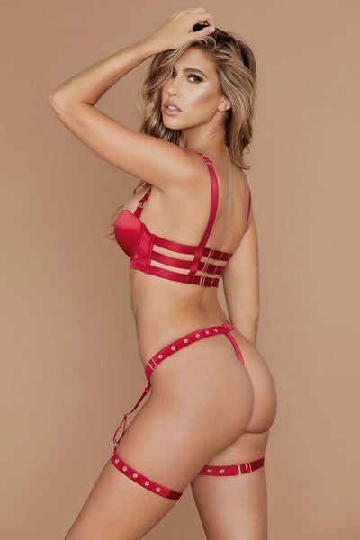 Alison Satin Buckle Push Up Bra - Red - MESHKI