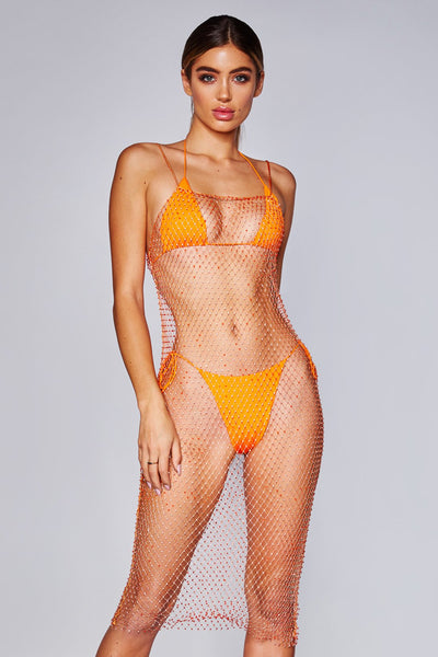 Dalaria Diamante Net Midi Dress - Orange