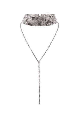 Azalea Layered Diamante Choker Necklace - Silver