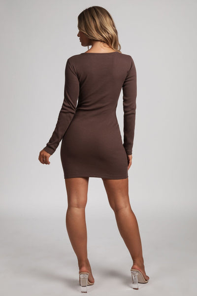 Vivien Popper Front Ribbed Mini Dress - Chocolate - MESHKI