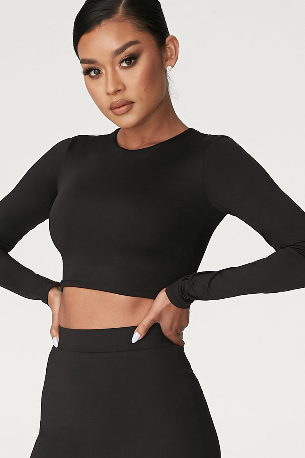 Emely Long Sleeve Crop Top  - Black - MESHKI