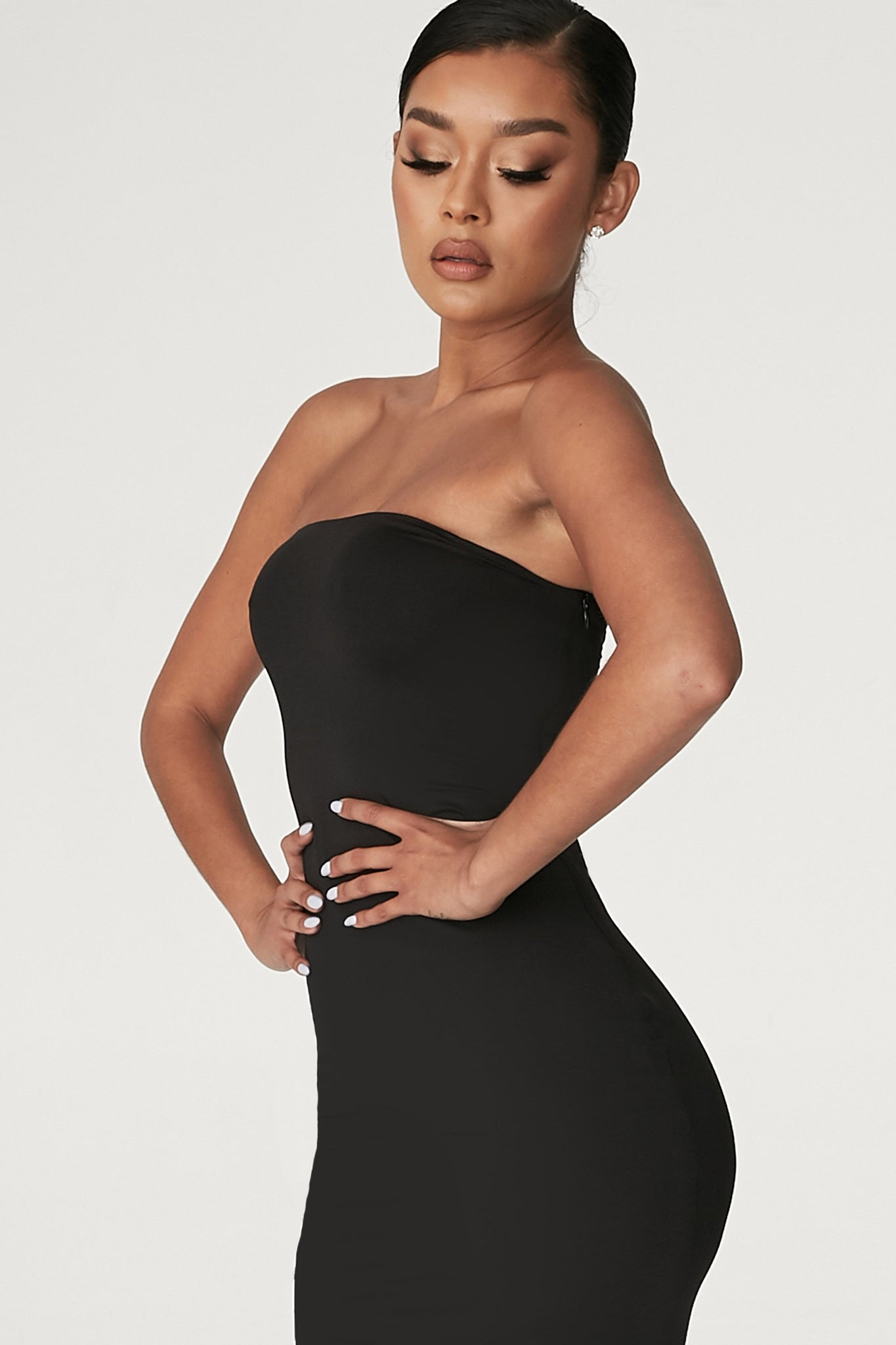 Emilee Strapless Midaxi Dress - Black - MESHKI