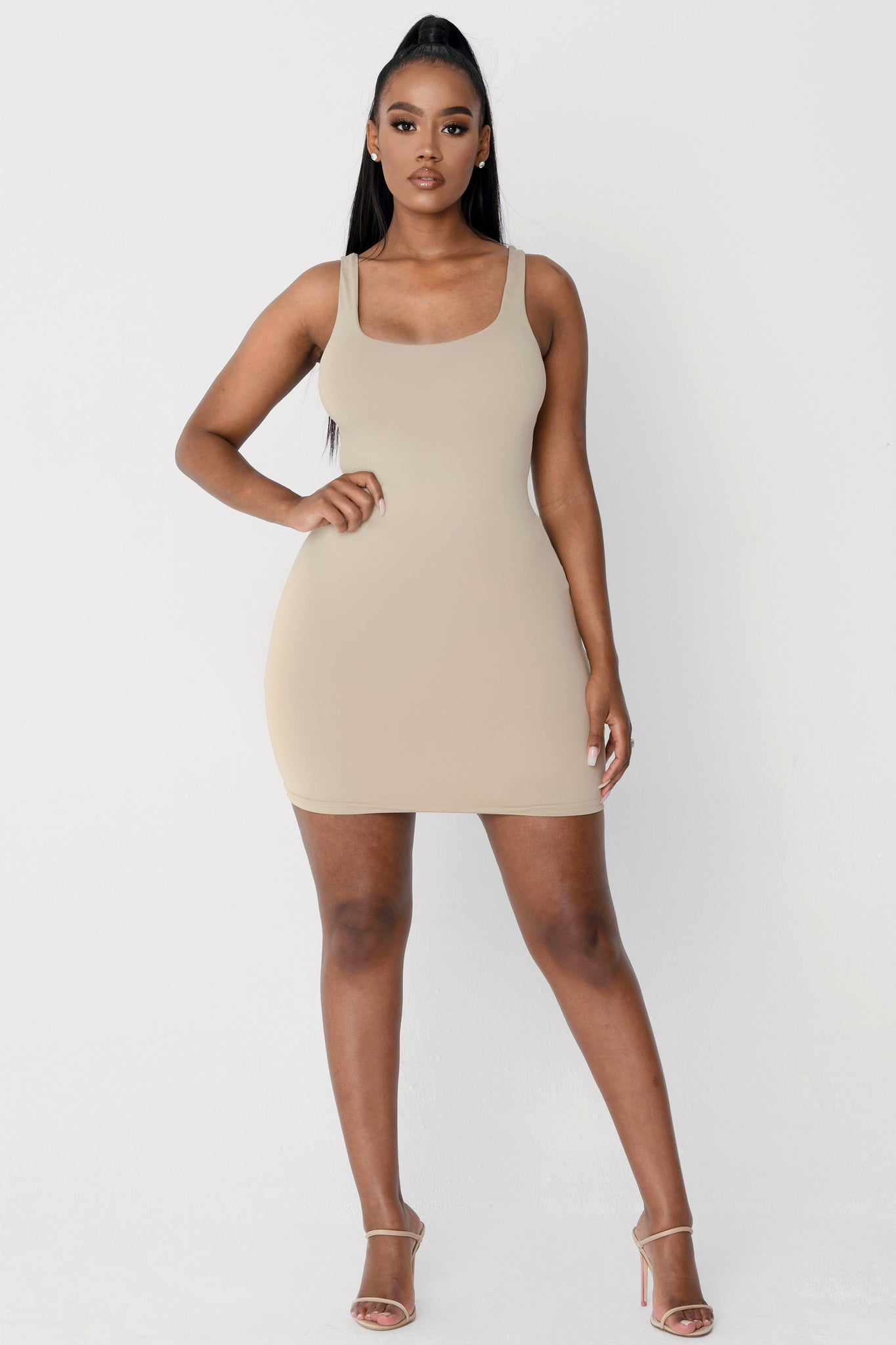 Estelle Thick Strap Square Neck Mini Dress - Almond - MESHKI
