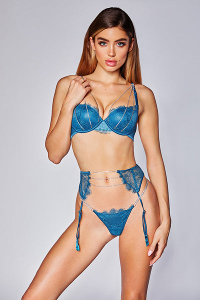 Electra Lace & Crystal V-String - Turquoise