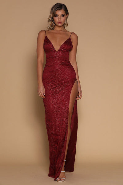 Ella Jewelled Maxi Dress - Burgundy - MESHKI