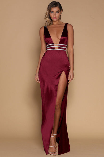 Elsia Maxi Dress - Burgundy - MESHKI