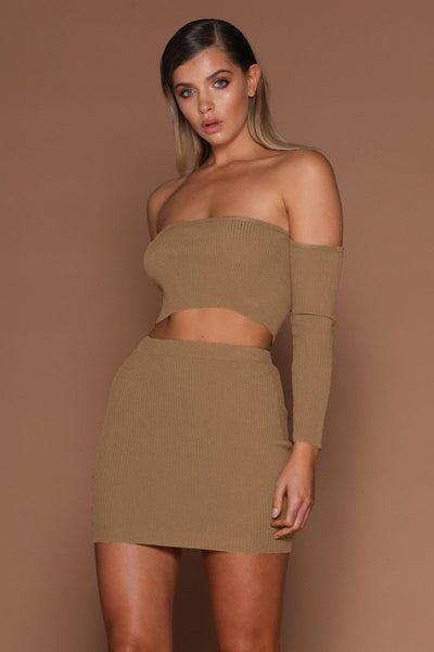 Elva Ribbed Off-Shoulder Set - Mocha - MESHKI