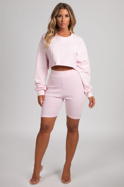 Alice Loose Fit Cropped Jumper - Baby Pink - MESHKI