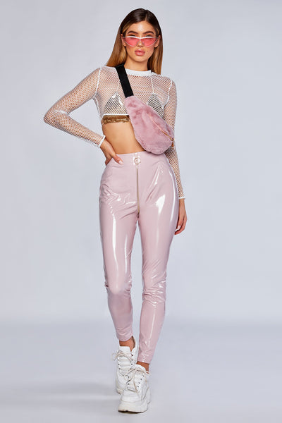 Madison Latex Zipper Front Pants - Baby Pink - MESHKI