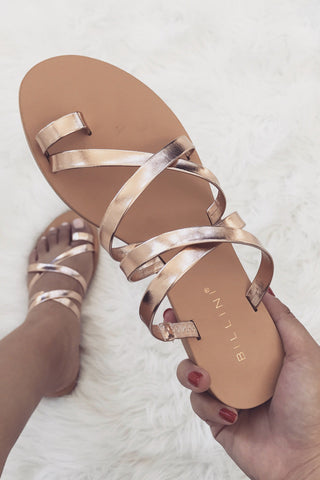 Ryla Strappy Flats - Rose Gold - MESHKI