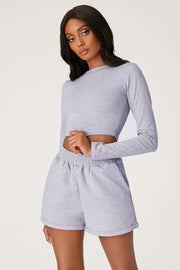 Emely Long Sleeve Crop Top - Grey Marle - MESHKI