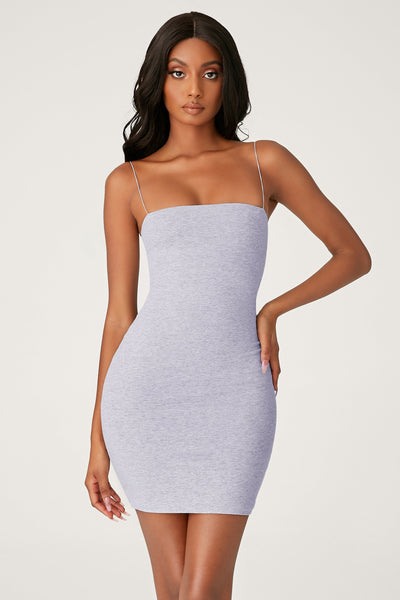 Mia Thin Strap Bodycon Mini Dress - Grey Marle