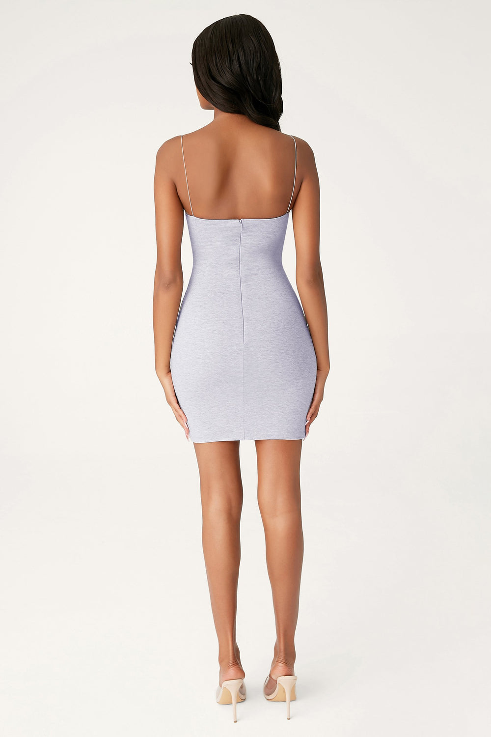 Mia Thin Strap Bodycon Mini Dress - Grey Marle - MESHKI
